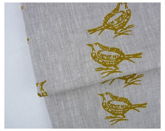 Linen by the yard - Mustard birds couple hand printed by celina mancurti - Free Shipping to USA