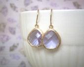 Lavender Earrings, Gold Earrings, Bridesmaids Earrings, Best Friend, Birthday, Wife, Anniversary