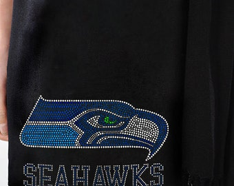 Seattle Seahawks Rhinestone Pashmina Shawl - Beautiful Seahawk's Woman's Scarf