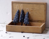 Holiday ornaments. A set of 3 blue  Christmas trees.
