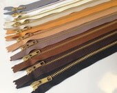 Metal zippers, 12 inch Gold teeth zippers, TEN pcs, black, brown, heather, camel, mustard, natural beige, white, vanilla, grey, neutrals