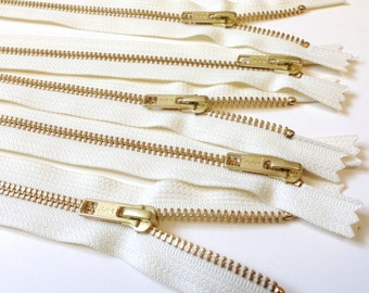 12 inch metal zippers, gold teeth, vanilla tape, FIVE pcs, YKK color 121