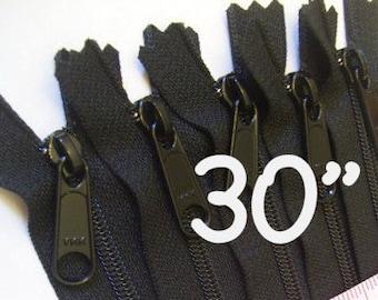 30 inch Handbag zippers with extra long pull, 5 pcs - nylon coil 4.5 - YKK black color 580