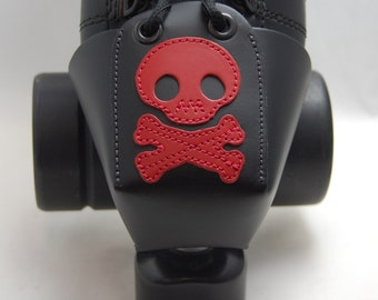 Leather Skate Toe Guards with Red Skull and Crossbones