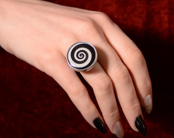 Von Erickson's Hypnotic Spiral Ring -Optical Illusion Spinning Spiral Steampunk Mechanical Jewelry