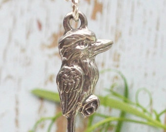 Australian Pewter Kookaburra Charm Necklace On Sterling Silver chain