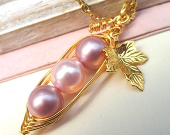 Three Peas In A Pod  Gold Pendant Necklace - Shades of Pink   Swarovski Pearls or Choose Your Color - Lovely gift for Mom or Grandma