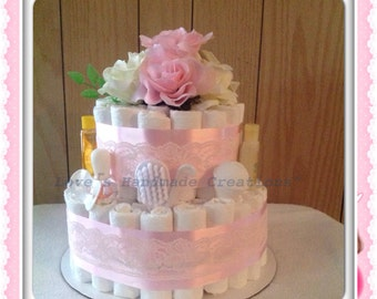 Baby Girl Diaper Cake Pink Lace