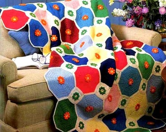 INSTANT DOWNLOAD PDF Vintage Crochet Pattern Octagons Granny  Afghan Throw Blanket Retro
