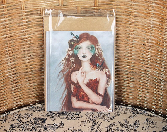 RESERVED Wrencatcher Set of 5 Greeting Cards with Custom Printed Set of 5 Titania's Daughter // Prints of Original Fantasy Illustrations