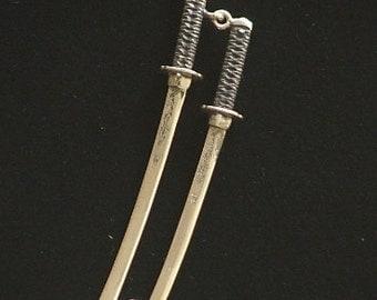 KATANA DUO: Sterling Silver Japanese Katana and Wakizashi Pendant with Dragons- Made to Order