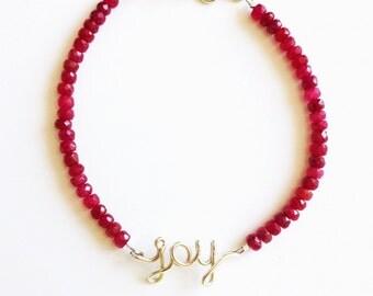 Joy Ruby Bracelet. Custom Name Sterling Silver Bracelet. Adjustable Length