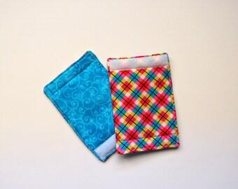 Last Set! Luggage Handle Wraps set of two reversible Pink Argyle Turquoise Swirls  Quiltsy Handmade