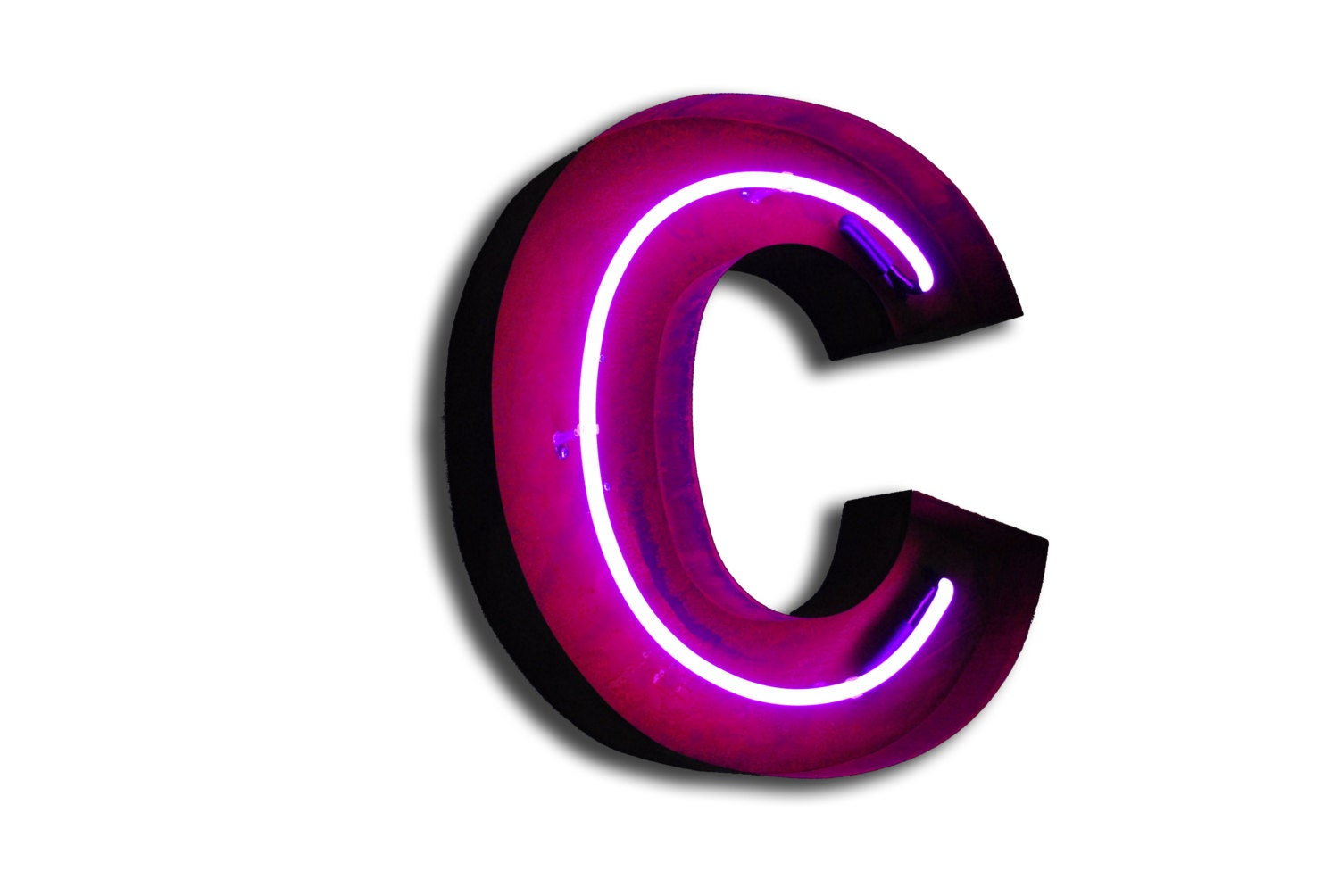 vintage marquee lights neon letter c pink zoom