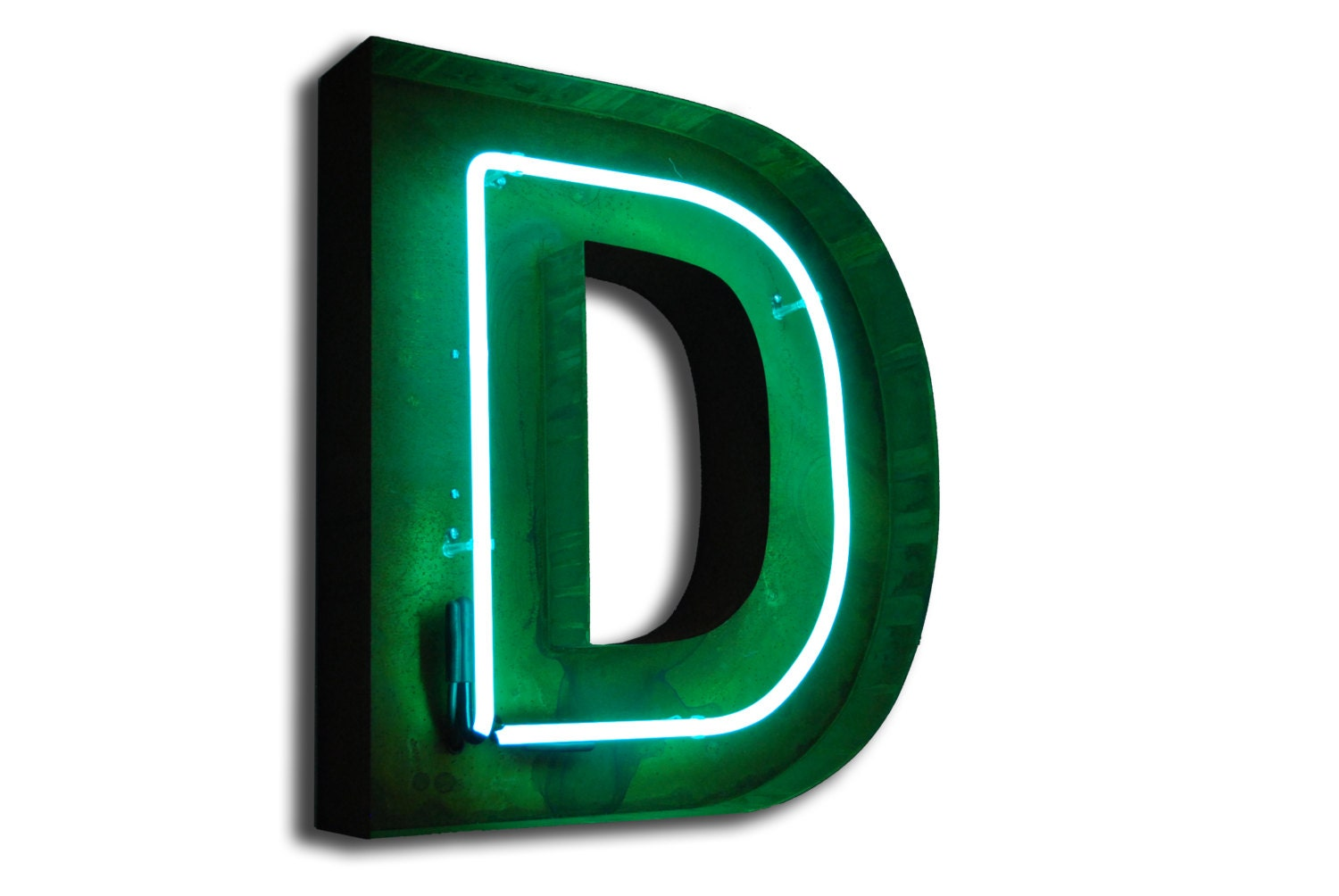SALE Vintage Marquee Lights NEON Letter D Green