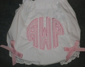 Custom Circle Monogram Bloomers Diaper Cover