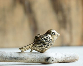 Bird Whistle Pendant, Song Bird Whistle Necklace, Antique Brass Bird Pendant, Autumn Wedding, Bridesmaid Gift, Gift for Her, Gift for Mom