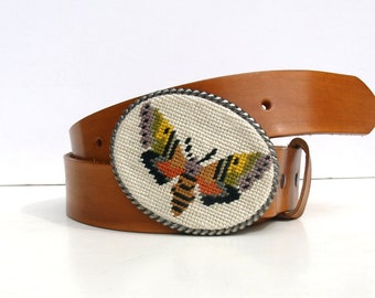 Needlepoint Moth Belt buckle