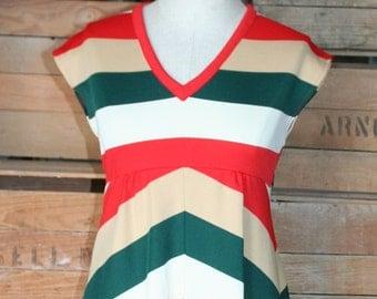 Class Favorite - Collegiate Stripe Day Dress - Fall Colors - 1970's Vintage Dress - 30 Bust