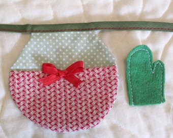 Barbie Clothes - Handmade Apron with Two Pockets in Green and Red