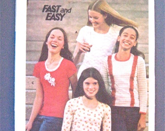 70s Vintage Butterick 4122 Women's Top Pattern  Bust 31.5 inches