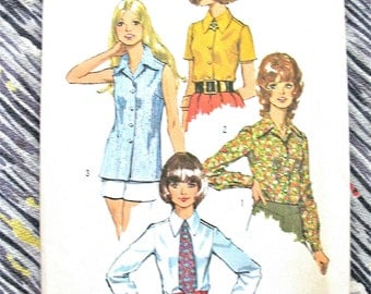 Uncut 70s Simplicity 5022 Blouse Vintage Sewing Pattern  Bust 45 inches