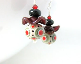 Red Gray Ivory & Black Earrings, Lampwork Earrings, Glass Earrings, Funky Earrings, Ruffle Earrings, Unusual Earrings, Red Earrings - Spot