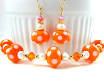Polka Dot Bracelet & Earring Set, Statement Jewelry Orange White Lampwork Bracelet Retro Jewelry Gold Filled Everyday Jewelry Orange Sherbet