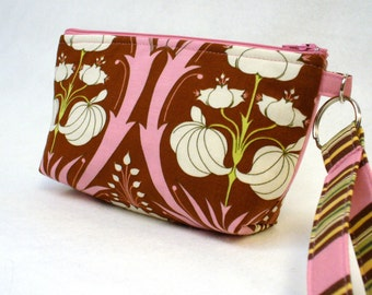 SALE! Cosmetic Bag Womens Wristlet Clutch Purse Zipper Pouch Key Fob Amy Butler Passion Lily Pink Brown Floral Soul Blossoms Handmade