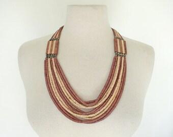 NEFERTITI // layered wood bead 1970s necklace