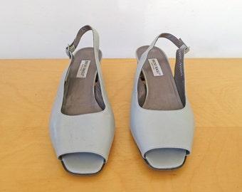 BRUNO MAGLI // blue grey leather 1980s heels