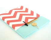 """13"""", 14"""" or 15.6"""" Laptop Case, Custom Size, Padded Laptop Sleeve with Pocket - Coral and Aqua"""