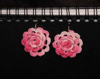 Sale--Pink and White Rose Crochet Earrings