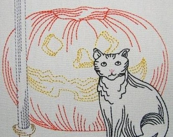 Machine Embroidery Design- Halloween Colorline #08- Jack O' Lantern, Black Cat and Candle- with 3 sizes Included!