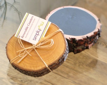 2 REVERSIBLE Reclaimed WOOD COASTERS Write Erase—Fathers Day Gift Wedding Registry Housewarming Host—Dessous-de-verre Bois/Posavasos Madera