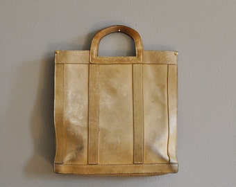 vintage shopper in heavy beige / cream leather