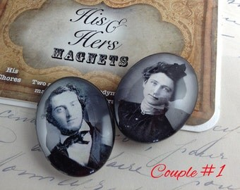 His and Hers Chores Magnets - Victorian Photos - Oval Glass 30mmx40mm