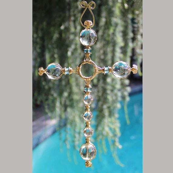 Clear Glass Cross Decorative Cross Glass Suncatcher Old Fashioned Cross