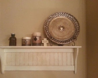 Wood Shelf Distressed White Antiqued Wood Wall Shelf Primitive 36 Inch