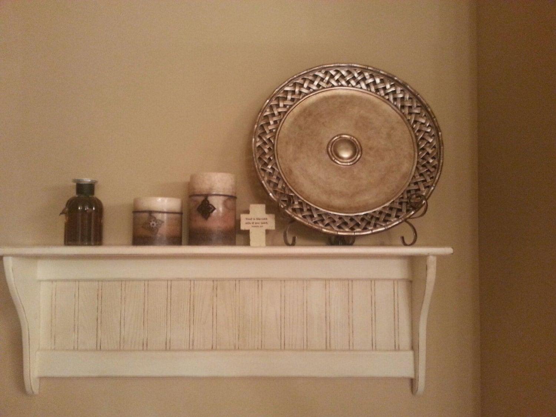 Wood Shelf Distressed White Antiqued Wood Wall Shelf Primitive
