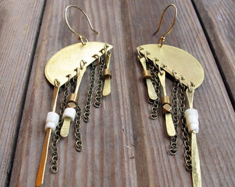 Essentiality - Brass and Chain Dramatic Earrings - Artisan Tangleweeds Jewelry
