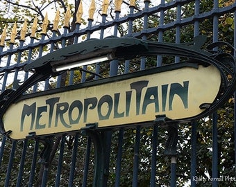 Paris Metro Photography, Metropolitain Paris Metro Sign, Paris Metro Wall Prints, Metro Sign Wall Art, Paris Metropolitain Metro Gate Prints