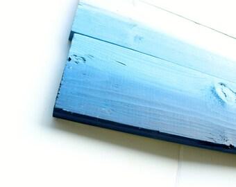 Fine Art Blue Ombre Original Wood Plank Painting , Beach House wall art