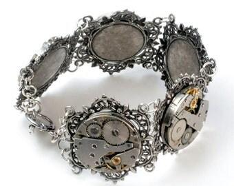 Steampunk Five Vintage Watch Movement Silver Bracelet