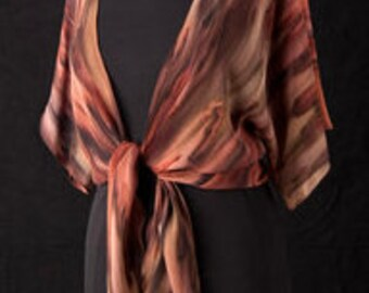 Silk Shrug Jacket, Hand Dyed Hand Painted, Burnt Sienna