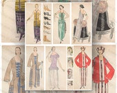 French Fashion Plates Early 1920's Digital Collage Sheet Large Color Images Instant Printable Download