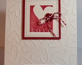 Handmade Stamped Stitched Happy Valentine's Day Love Card