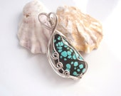 Genuine Turquoise Pendant, From the Hubei Mine, Sky Blue with Black Matrix