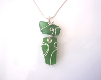 Green Sea Glass Necklace made with Authentic Sea Glass from LI Sound