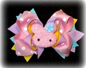 Pink Easter Bunny Hair Bow Boutique Layered Hairbow Fuzzy and Furry Fun for Spring Pink Aqua Pastel